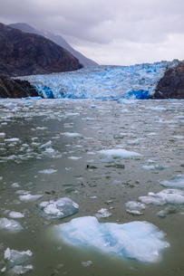 Ice pack and blue ice face of South Sawyer Glacier, mountain backdrop, Stikine Icefield, Tracy Arm Fの写真素材 [FYI03812605]