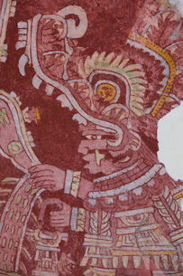 Wall Mural, Priest Procession, Palace of Tepantitla, Teotihuacan Archaeological Zone, State of Mexicの写真素材 [FYI03812775]