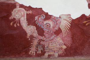 Wall Mural, Priest Procession, Palace of Tepantitla, Teotihuacan Archaeological Zone, State of Mexicの写真素材 [FYI03812777]