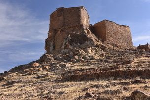 Berber granary, Agadir Tashelhit, in the form of a fortress, Anti-Atlas mountains, Morocco, North Afの写真素材 [FYI03812840]
