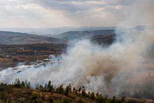 Slash and burn forest fire, Antsirabe, Vakinankaratra Region, Madagascar, Africaの写真素材 [FYI03813102]