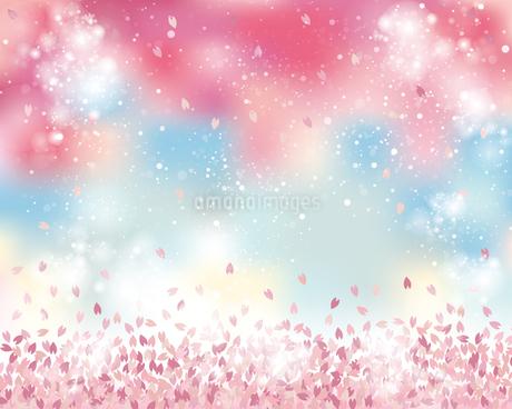 桜 花吹雪 背景のイラスト素材 [FYI03813476]