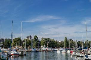 スイス、ジュネーブ旧市街とレマン湖の写真素材 [FYI03813552]