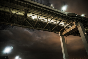 夜の横浜ベイブリッジ(大黒ふ頭から撮影)の写真素材 [FYI03813876]