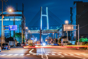 夜の横浜ベイブリッジ(大黒ふ頭から撮影)の写真素材 [FYI03814010]