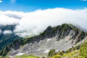 水晶岳を覆う雲の写真素材 [FYI03814727]