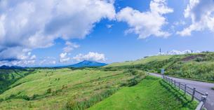 北海道 自然 風景 パノラマ きじひき公園 (噴火湾眺望台) より駒ヶ岳方面遠望 (魚眼)の写真素材 [FYI03814831]