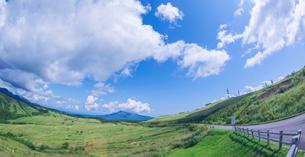 北海道 自然 風景 パノラマ きじひき公園 (噴火湾眺望台) より駒ヶ岳方面遠望 (魚眼)の写真素材 [FYI03814833]