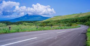 北海道 自然 風景 パノラマ きじひき公園 (噴火湾眺望台) より駒ヶ岳方面遠望 の写真素材 [FYI03814836]