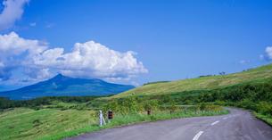 北海道 自然 風景 パノラマ きじひき公園 (噴火湾眺望台) より駒ヶ岳方面遠望 の写真素材 [FYI03814838]