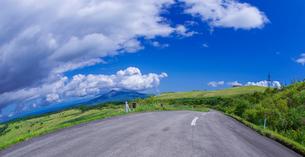 北海道 自然 風景 パノラマ きじひき公園 (噴火湾眺望台) より駒ヶ岳方面遠望 (魚眼)の写真素材 [FYI03814841]