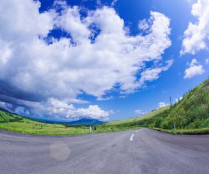 北海道 自然 風景 きじひき公園 (噴火湾眺望台) より駒ヶ岳方面遠望 (魚眼)の写真素材 [FYI03814842]