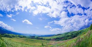 北海道 自然 風景 パノラマ きじひき高原より函館市方面遠望 (魚眼)の写真素材 [FYI03814850]
