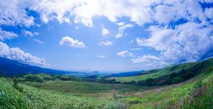 北海道 自然 風景 パノラマ きじひき高原より函館市方面遠望 (魚眼)の写真素材 [FYI03814851]