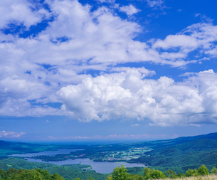 北海道 自然 風景 きじひき高原展望台より大沼方面遠望の写真素材 [FYI03814854]