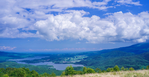 北海道 自然 風景 パノラマ きじひき高原展望台より大沼方面遠望の写真素材 [FYI03814855]