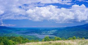 北海道 自然 風景 パノラマ きじひき高原展望台より大沼方面遠望の写真素材 [FYI03814857]