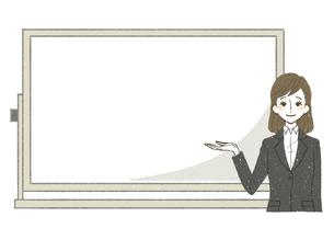 スーツ-女性-ホワイトボード-笑顔のイラスト素材 [FYI03814914]