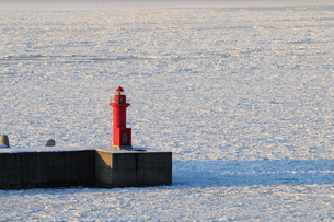 流氷に閉ざされた海と赤い灯台の写真素材 [FYI03814935]