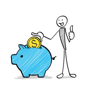 ぶたの貯金箱にコインを入れる人物のイラスト素材 [FYI03815214]