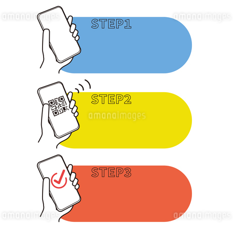 スマートフォン 決済のステップ フレームのイラスト素材 [FYI03815344]