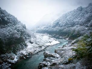 徳島県三好市 祖谷渓 雪の大歩危峡の写真素材 [FYI03815570]