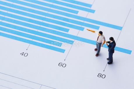 グラフとミニチュアの人の写真素材 [FYI03815773]