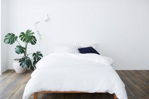白い壁とフローリングの部屋に置かれたベッドの写真素材 [FYI03815984]