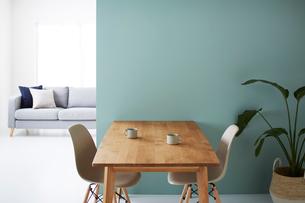 緑の壁の前にあるダイニングセットと奥にあるグレーのソファの写真素材 [FYI03815997]