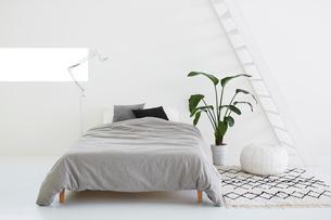 白い壁と白い床の空間にあるベッドルームの写真素材 [FYI03816004]