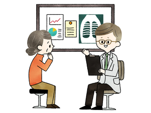 診察-シニア女性-医者-水彩のイラスト素材 [FYI03816030]