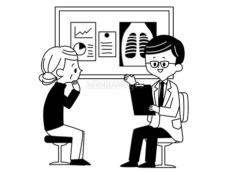 診察-シニア女性-医者-白黒のイラスト素材 [FYI03816031]