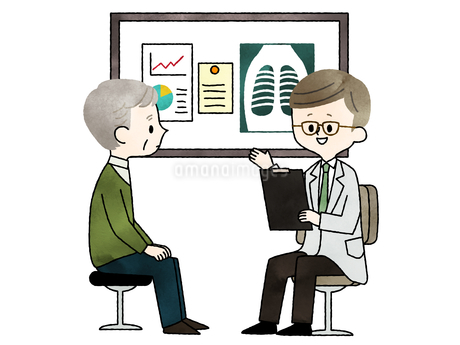 診察-シニア男性-医者-水彩のイラスト素材 [FYI03816312]