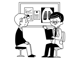 診察-シニア男性-医者-白黒のイラスト素材 [FYI03816314]