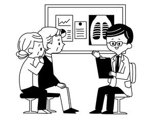 診察-シニア男性女性-夫婦-医者-白黒のイラスト素材 [FYI03816408]