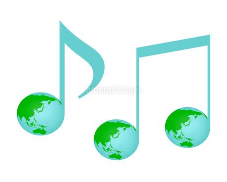 地球柄の音符のイラスト素材 [FYI03816700]