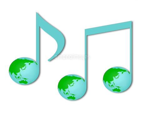 地球柄の音符のイラスト素材 [FYI03816701]
