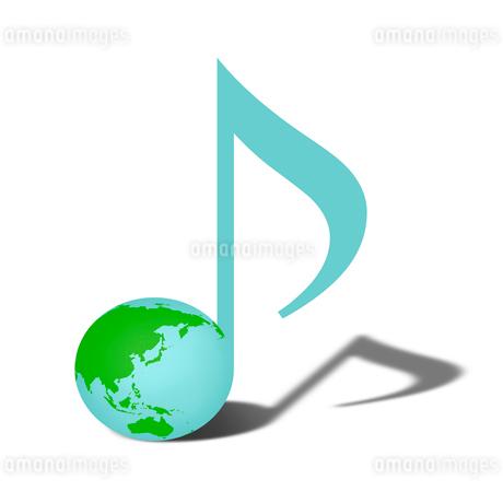 地球柄の音符のイラスト素材 [FYI03816702]