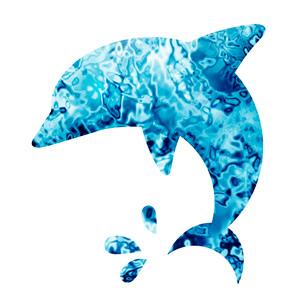 水面柄のイルカのイラスト素材 [FYI03816703]