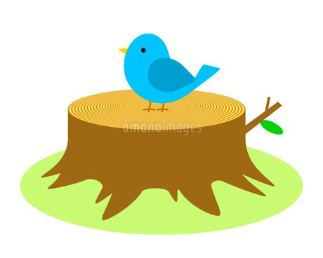 切り株の上の小鳥のイラスト素材 [FYI03816717]