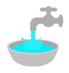 洗面器に溜めた水のイラスト素材 [FYI03816727]