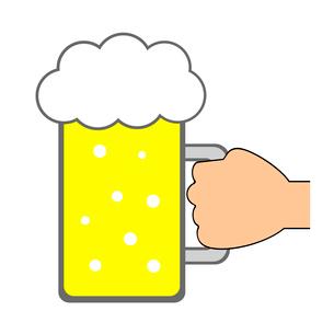 手に持ったビールジョッキのイラスト素材 [FYI03816728]