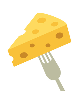 フォークに刺したチーズのイラスト素材 [FYI03816744]