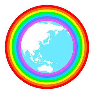 虹に包まれた地球のイラスト素材 [FYI03816760]