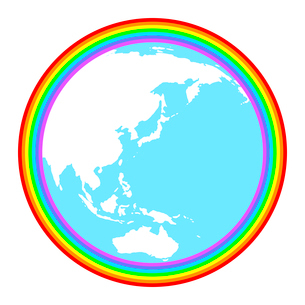 虹に包まれた地球のイラスト素材 [FYI03816761]