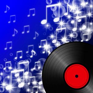 レコードと輝く音符のイラスト素材 [FYI03816766]