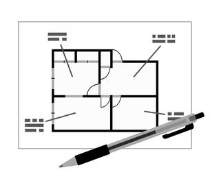 間取りとペンのイラスト素材 [FYI03816815]