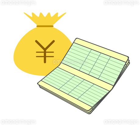 通帳と金貨袋のイラスト素材 [FYI03817116]