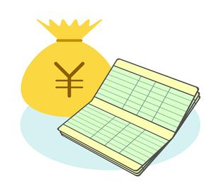 通帳と金貨袋のイラスト素材 [FYI03817117]