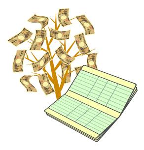 通帳と金のなる木のイラスト素材 [FYI03817118]